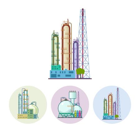 ressources naturelles: Ensemble de trois ic�nes color�es autour des usines chimiques. Ic�ne d'une usine de traitement chimique ou de raffinage de ressources naturelles, ou une installation pour la fabrication de produits. Silhouette usine chimique pour le design industriel et de la technologie, illustration vectorielle