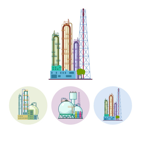 Set of three round colorful icons  chemical plants. Icon of a chemical plant or refinery processing of natural resources, or a plant for the manufacture of products. Chemical factory silhouette for industrial and technology design ,  vector illustration