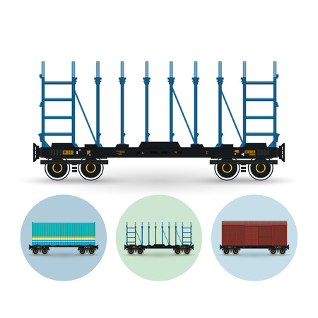 Railway platform, platforms for timber transportation,  for transportation of cars, equipment, long cargo, bulk cargo. Set of three round colorful icons container platform, railway platform, covered freight car ,vector illustration