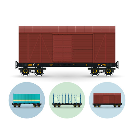 대기의: Covered freight car for transportation of goods, the demanding protection against an atmospheric precipitation. Set of three round colorful icons container platform, railway platform, covered freight car ,vector illustration