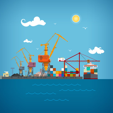 Sea port, unloading of cargo containers from the container carrier Illustration