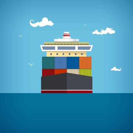 はしけ: 貨物コンテナー船輸送青い海で容器