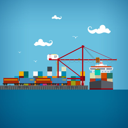 ports: Sea port, unloading of cargo containers from the container carrier Illustration