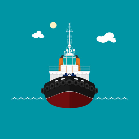 Tugboat, a front view of the pushboats, towboat for towage and mooring of other courts , vector illustration Stock Illustratie