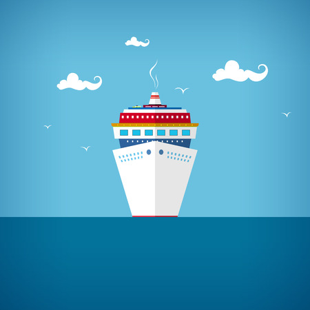 Cruise ship, a front view of the passenger ship, liner at sea or in the ocean in a sunny day, vector illustration