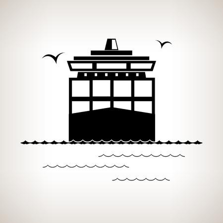 はしけ: シルエット貨物コンテナー船船輸送コンテナー、黒と白のベクトル図