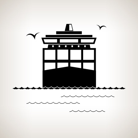 Silhouette cargo container ship, ship transports containers,  black and white vector illustration