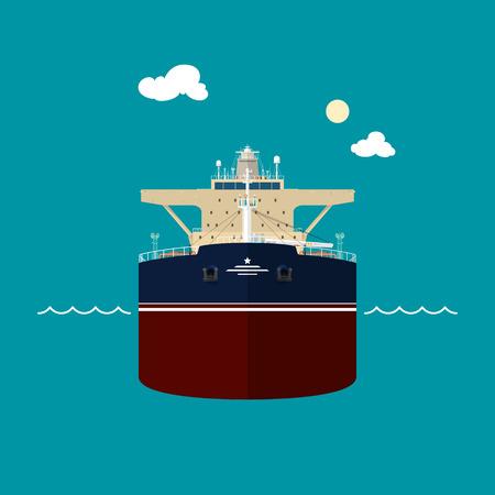 bulk carrier: A tanker or tank ship or tankship, a merchant vessel designed to transport liquids, vector illustration