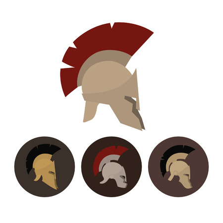 Colored antique  Roman or Greek helmets for head protection soldiers with a crest of feathers or horsehair with slits for the eyes and mouth, vector illustration Stock Illustratie