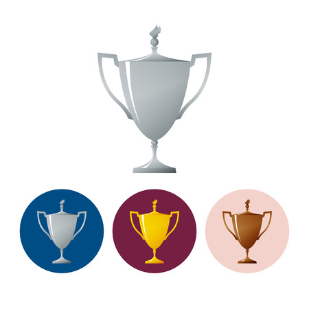 bronzed: Silver trophy cup on white background, set of three round colorful icons  cup of winner, vector illustration