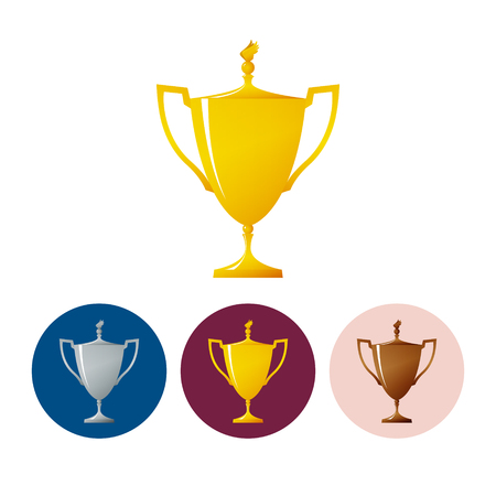 bronzed: Gold trophy cup on white background , set of three round colorful icons  cup of winner, vector illustration Illustration