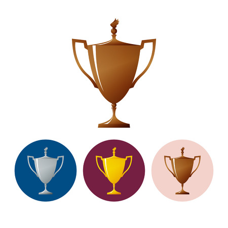bronzed: Bronzed trophy cup on white background , set of three round colorful icons  cup of winner, vector illustration Illustration