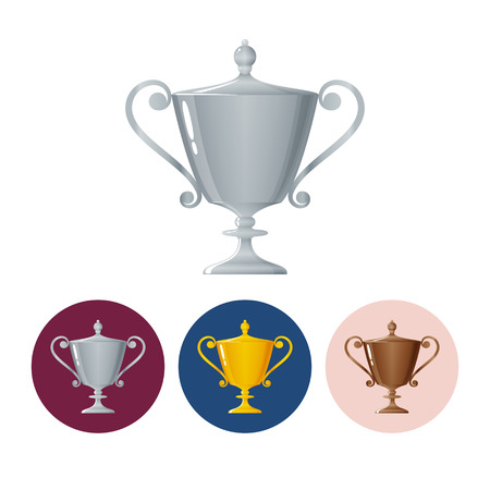 runner up: Silver trophy cup on white background, set of three round colorful icons  cup of winner, vector illustration