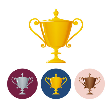 runner up: Gold trophy cup on white background , set of three round colorful icons  cup of winner, vector illustration Illustration