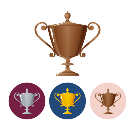 runner up: Bronzed trophy cup on white background , set of three round colorful icons  cup of winner, vector illustration Illustration