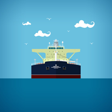 with liquids: A tanker or tank ship or tankship, a merchant vessel designed to transport liquids, vector illustration