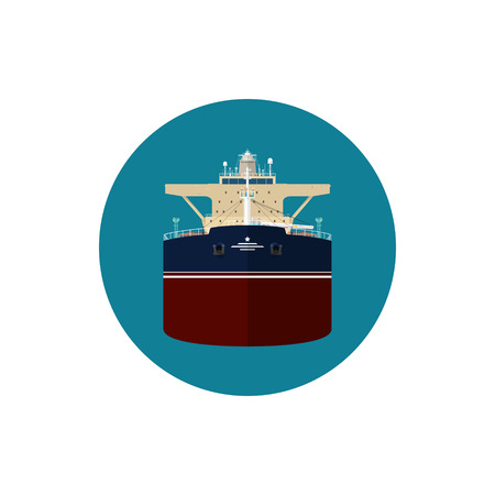 with liquids: Icon tanker or tank ship, a merchant vessel designed to transport liquids, vector illustration
