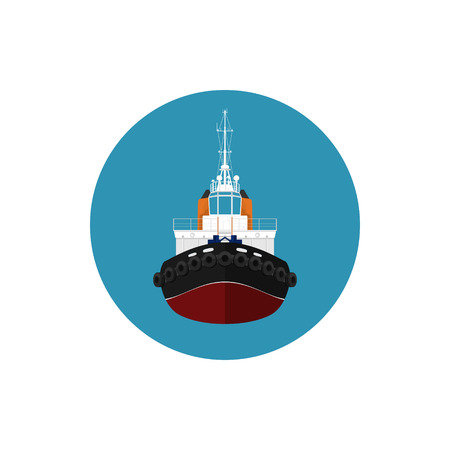 Icon tugboat, a front view of the push boats, icon tow boat for to wage and mooring of other courts , vector illustration Illustration