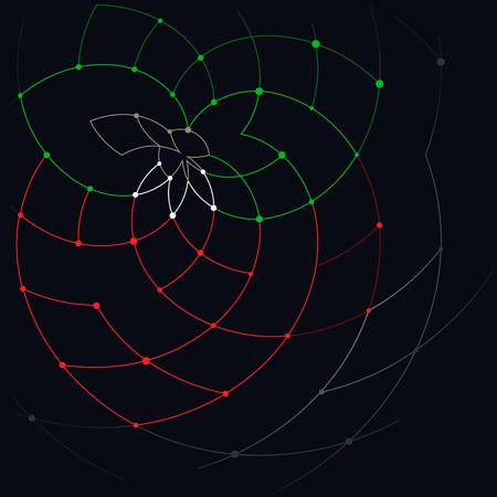 unfinished: Modelo abstracto geom�trico de las curvas, l�neas inacabadas, nodos, fresas abstractos con hojas y tallos, fresa salvaje, ilustraci�n vectorial