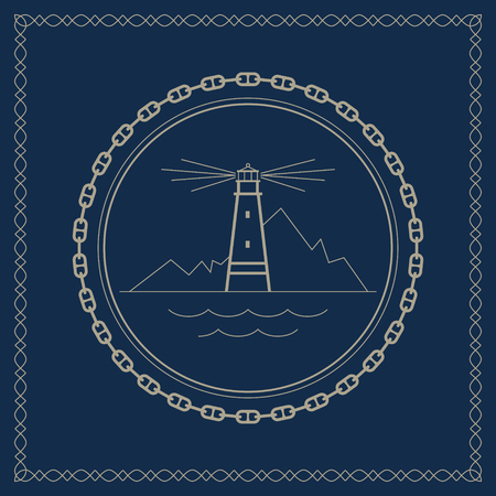 beacon: Lighthouse ,marine emblem with lighthouse, retro ornament beacon and mountains, vector illustration Illustration