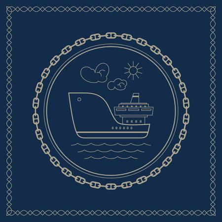 bulk carrier: Cargo ship ,marine emblem with dry cargo ship, retro ornament vessel, vector illustration Illustration
