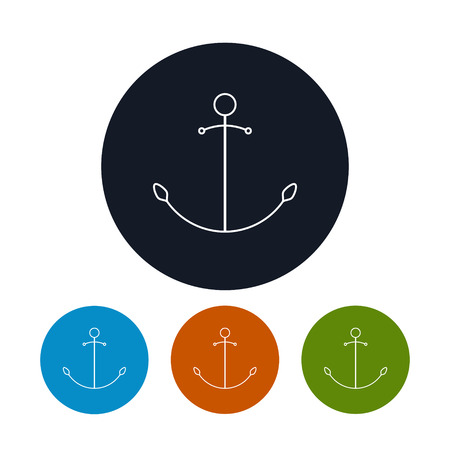 anchored: Icon  anchor,  the four types of colorful round icons  anchored  , vector illustration