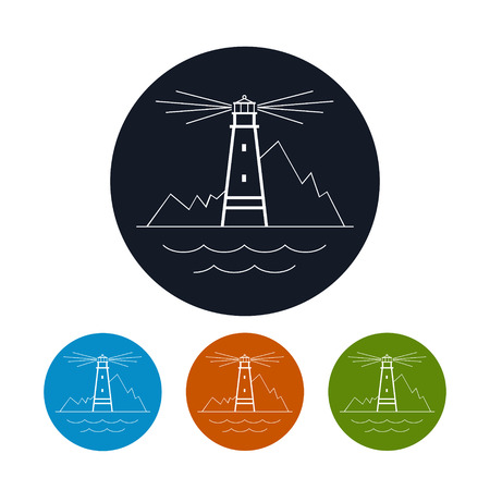 beacon: Icon  lighthouse,  the four types of colorful round icons beacon  , vector illustration