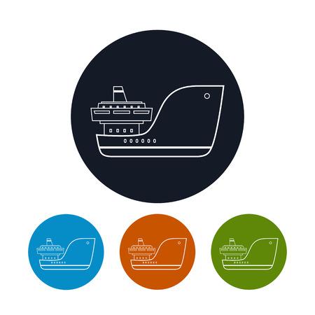 はしけ: アイコンの貨物船の 4 種類のカラフルなラウンドのアイコン ドライ貨物船、ベクター グラフィック