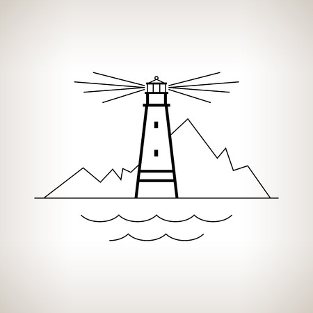 Silhouette lighthouse on a light background, beacon and mountains on a light background ,  black and white  vector illustration Ilustração