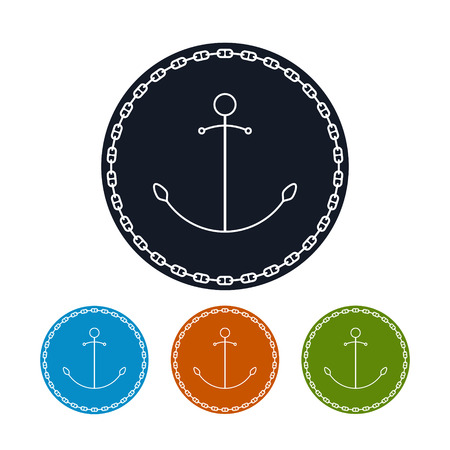 anchored: Icon  anchor and chain,  the four types of colorful round icons  anchored  in the circle of the chain , vector illustration Illustration