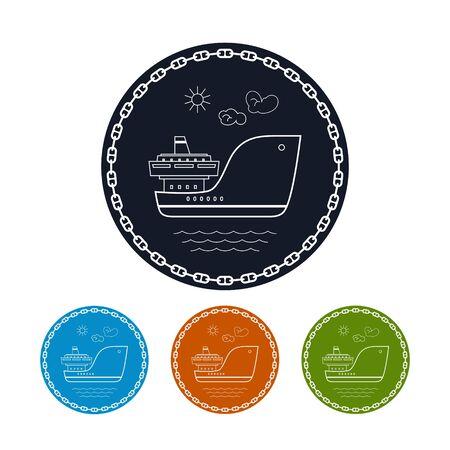 はしけ: アイコン貨物船、カラフルな丸いアイコンの 4 つのタイプの乾燥ベクトル図、チェーンの輪の中の貨物船