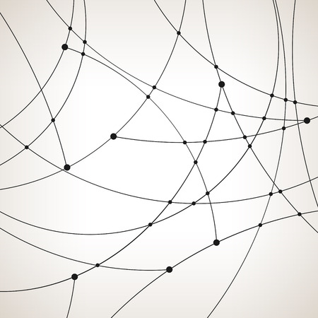 unfinished: Abstract geometric pattern of the curves, unfinished lines, nodes, abstract data type, vector illustration