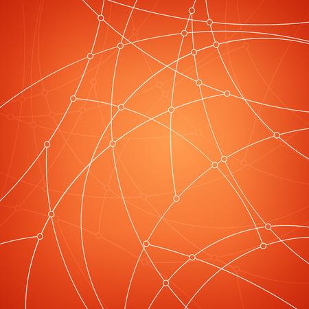 unfinished: Modelo abstracto geom�trico de las curvas, l�neas inacabadas, nodos, tipo de datos abstracto sobre fondo naranja, ilustraci�n vectorial Vectores