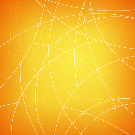 unfinished: Abstract geometric pattern of the curves, unfinished lines, nodes, abstract data type on yellow background, vector illustration