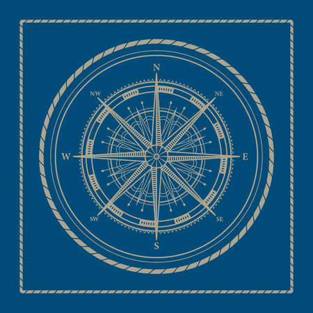 Compass rose,marine emblem with wind rose, retro ornament compass rose, vector illustration