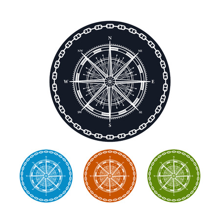 longitude: Icon compass rose ,the four types of colorful round icons wind rose in the circle of the chain,  vector illustration Illustration