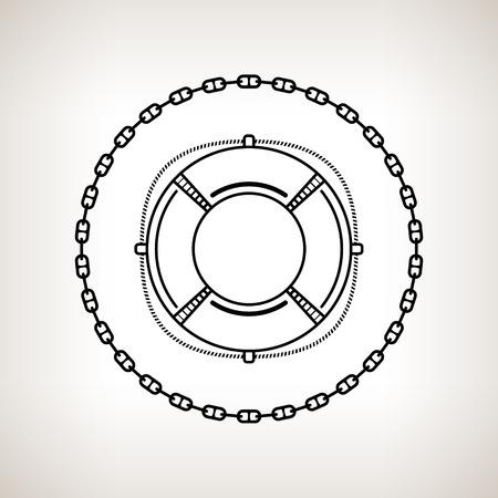 lifebelt: Silhouette lifebuoy, contour of the lifebelt in the circle of the chain on a light background,  black and white  vector illustration