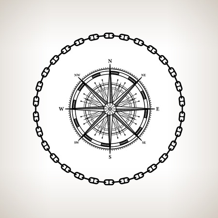 compass rose: Silhouette compass rose, contour of the wind rose in the circle of the chain on a light background,  black and white  vector illustration