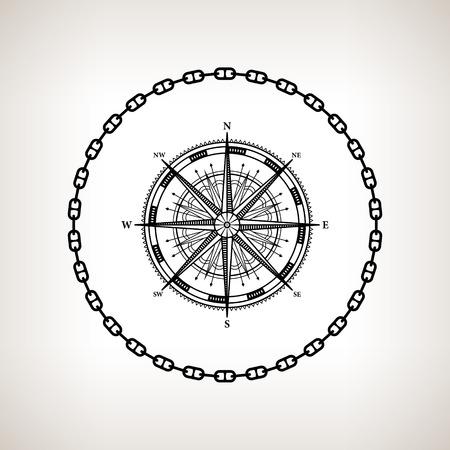 rosa dei venti: Silhouette rosa dei venti, contorno della rosa dei venti nel cerchio della catena su sfondo chiaro, illustrazione vettoriale in bianco e nero