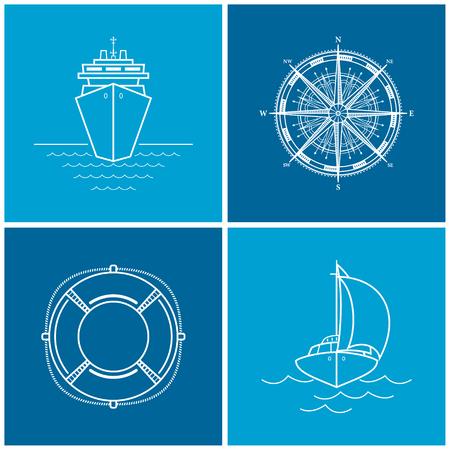 rosa dei venti: Icone delle navi da crociera, rosa dei venti, salvagente, yacht. Set di icone marittime per il web design, illustrazione vettoriale Vettoriali