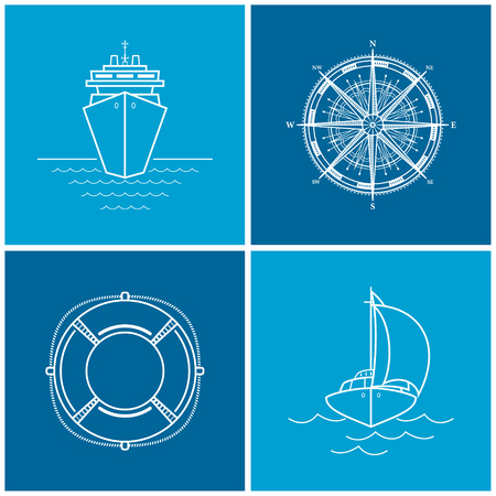compass rose: Icons cruise ship,compass rose, lifebuoy, yacht. Set of maritime icons for web design, vector illustration