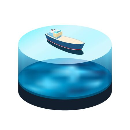 Isometric ship on the water, a top view of a cargo ship  in the sea, water as a cylinder with a ocean bed , vector illustration