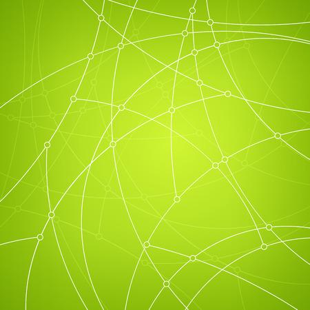 unfinished: Modelo abstracto geom�trico de las curvas, l�neas inacabadas, nodos, tipo de datos abstracto sobre fondo verde, ilustraci�n vectorial Vectores