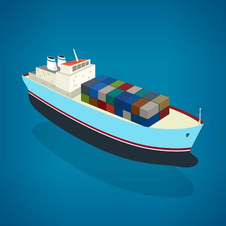 はしけ: 水、海、ベクトル図でボード上のコンテナー貨物船の平面図等尺性のコンテナー船  イラスト・ベクター素材