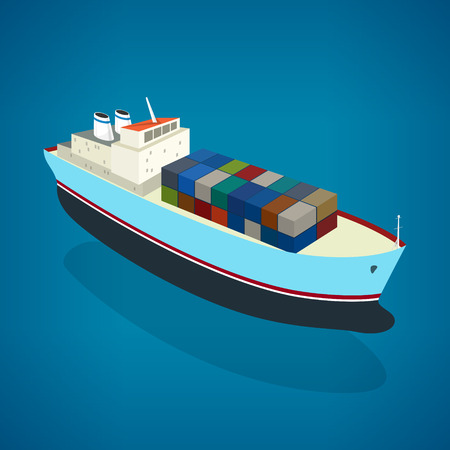 Isometric container ship on the water, a top view of a cargo ship with containers on board in the ocean, vector illustration Иллюстрация