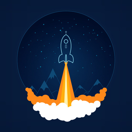 Spaceship on a background of the starry sky and the mountains, spacecraft flying in space, launch space rocket ,vector illustration
