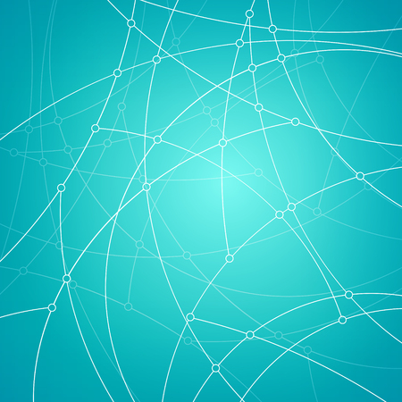 unfinished: Abstract geometric pattern of the curves, unfinished lines, nodes, abstract data type on  azure background, vector illustration Illustration