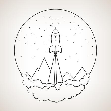 booster: Spaceship sur un fond de ciel �toil� et les montagnes, vaisseau volant dans l'espace, lancement fus�e spatiale, noir et blanc illustration vectorielle
