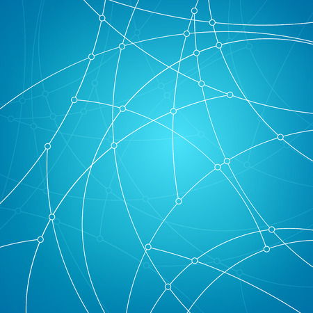 unfinished: Abstract geometric pattern of the curves, unfinished lines, nodes, abstract data type on blue background, vector illustration