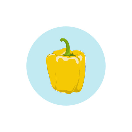 peper: Icon yellow bell pepper,icon sweet pepper, icon capsicum , vector illustration